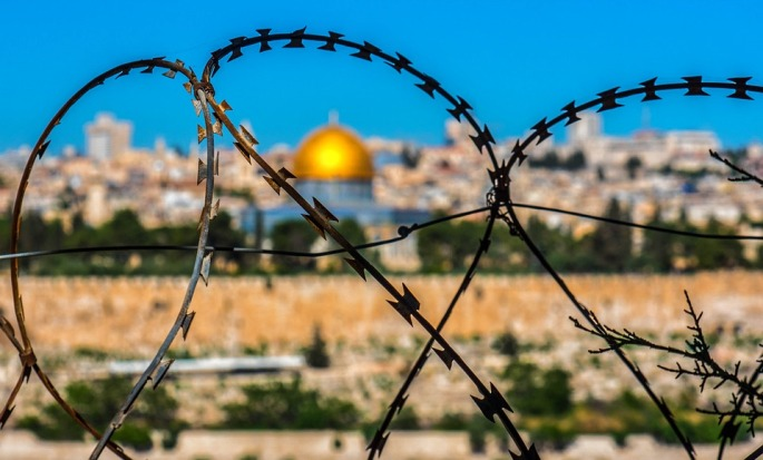 Israel Holy Land Temple as Seen through Barbed Wire